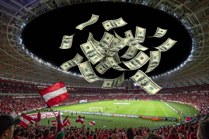 Деньги летящие на стадион